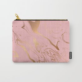 Pink Gold Liquid Marble Carry-All Pouch