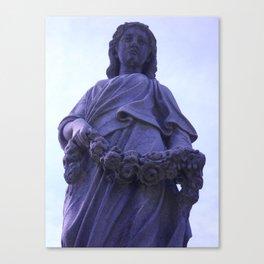 Female gravestone statue with garland Canvas Print