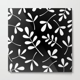 White on Black Assorted Leaf Silhouettes Metal Print