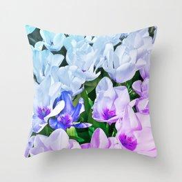Blue Indigo Tulips Throw Pillow