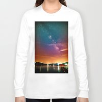 milky way Long Sleeve T-shirts featuring Milky Way over Water by 2sweet4words Designs