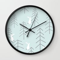 rabbits Wall Clocks featuring White rabbits by Dream Of Forest