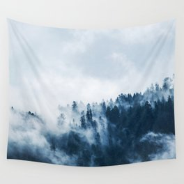 CLOUDS - WHITE - FOG - TREES - FOREST - LANDSCAPE - NATURE - TIMBER - WOODS - PHOTOGRAPHY Wall Tapestry