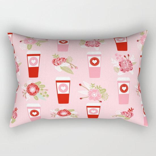 Coffee valentines day florals cute coffee lovers gifts that say i love you Rectangular Pillow