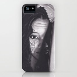 Realism Charcoal Drawing of Woman from Honduras iPhone Case