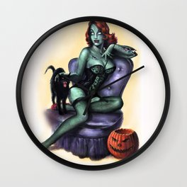 Halloween Zombie Girl Pin Up Wall Clock