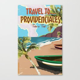 Travel to Providenciales vintage vacation poster Canvas Print
