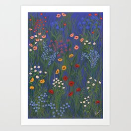 Meadow Floral Wildflowers Illustration Botanical Cottage Garden Flowers Nature Art Blue  Art Print