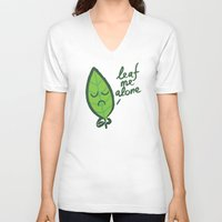 introvert V-neck T-shirts featuring The introvert leaf by Picomodi