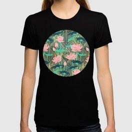 Art Deco Lotus Flowers in Peach & Emerald T-shirt