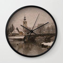 Lake Bohinj With The Church of St John the Baptist Wall Clock