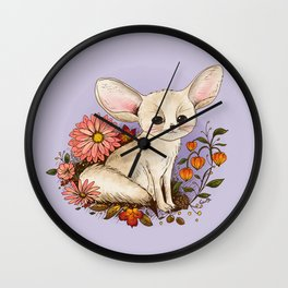 Fennec Fox with Chinese Lanterns Wall Clock