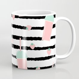 cute lovely pattern background with strawberry smoothies on black brush Coffee Mug