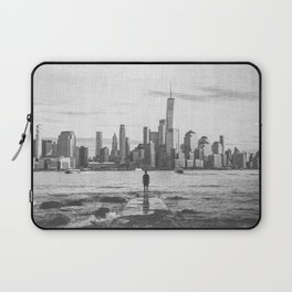 New York City Skyline Views and Vibes Black and White Laptop Sleeve
