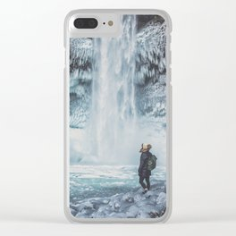 Winter Waterfall Clear iPhone Case