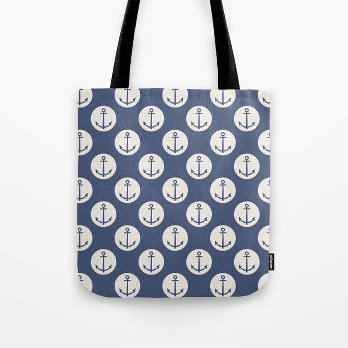 Blue Nautical Ships Anchor Tote Bag