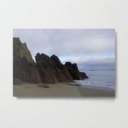 Ocean Rocks with Geological Layers Metal Print