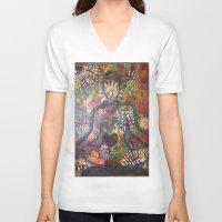 namaste V-neck T-shirts featuring Namaste by Tiffany Alcide