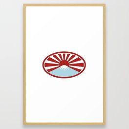 Rising Sun With Snow Capped Mountain Icon Framed Art Print