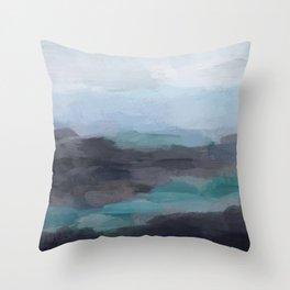 Mint Navy Blue Green Abstract Wall Art, Painting Art, Ocean Painting Print, Blue Water Throw Pillow
