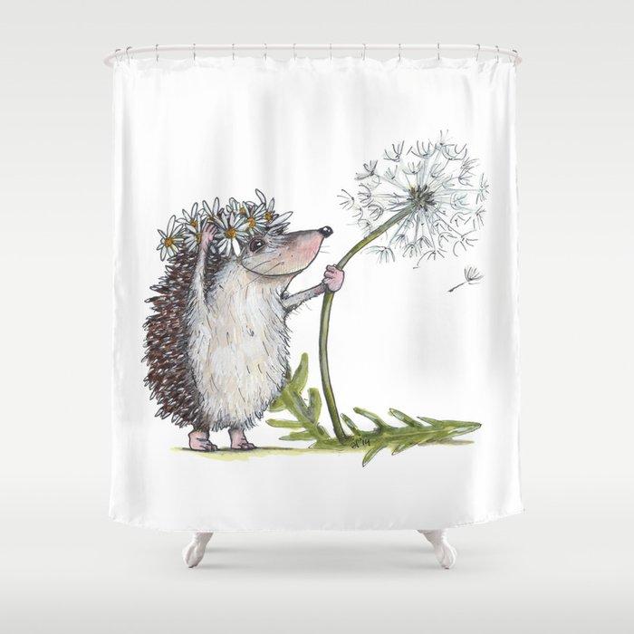 Hedgehog & Dandelion Shower Curtain