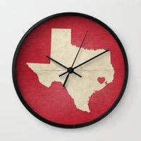 houston Wall Clocks featuring Houston, Texas by Fercute