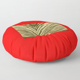 Golden Leaves on a red background Floor Pillow