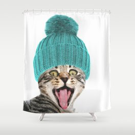 Cat with hat illustration Shower Curtain