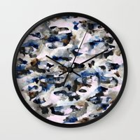 camo Wall Clocks featuring Camo by Josie Stevenson