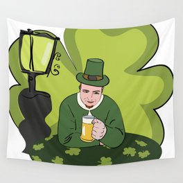 St Patricks Day Man with Beer Wall Tapestry