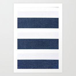 Nautical Blue & White Stripes Art Print