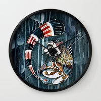 racoon Wall Clocks featuring Racoon by mr. louis