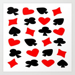 Red And Black Card Suits Art Print