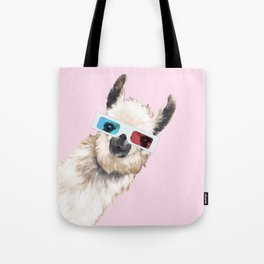 Sneaky Llama with 3D Glasses in Pink Tote Bag