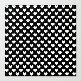 Black & White Hearts Pattern Canvas Print