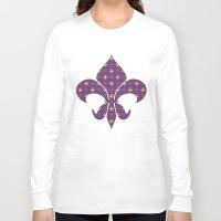 fleur de lis Long Sleeve T-shirts featuring Mardi Gras Fleur De Lis by Empire Ruhl