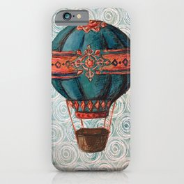 Vintage Hot Air Balloon: Navy and Coral iPhone Case