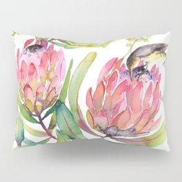 King Protea and Bird Watercolor Illustration Botanical Design Pillow Sham
