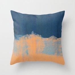 Summer Beach Abstract Orange Blue #painting #decor #society6 Throw Pillow
