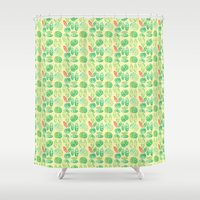 minimalist Shower Curtains featuring minimalist spring by serenita