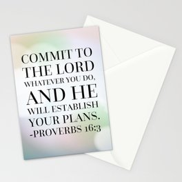 Proverbs 16:3 Bible Quote Stationery Cards