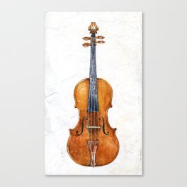 Violin (watercolor on textured background) Canvas Print