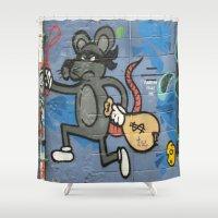 grafitti Shower Curtains featuring society6 zolliophone shop grafitti alley hip hop street art rat burglar  by Zolliophone Shop