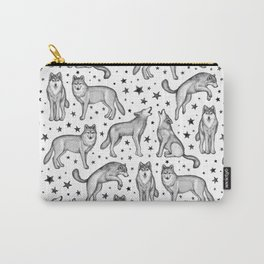Wolves and Stars on White Carry-All Pouch