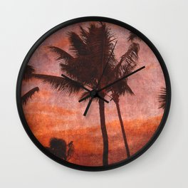 Maui Palms at Sunset Wall Clock