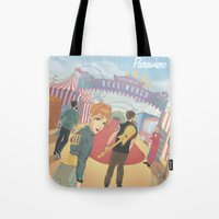 paramore Tote Bags featuring Paramore - Welcome to Real World by Zinenkoij
