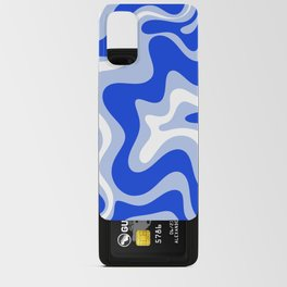 Retro Liquid Swirl Abstract Pattern Royal Blue, Light Blue, and White  Android Card Case