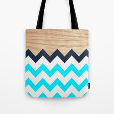 Chevron & Wood Tote Bag