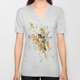 Hummingbird and orange flowers Unisex V-Neck
