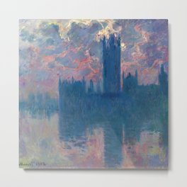 "Claude Monet ""The Houses of Parliament, at sunset"" Metal Print"